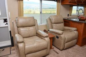 2 Cross-Stitch Swivel Rocker-Recliners
